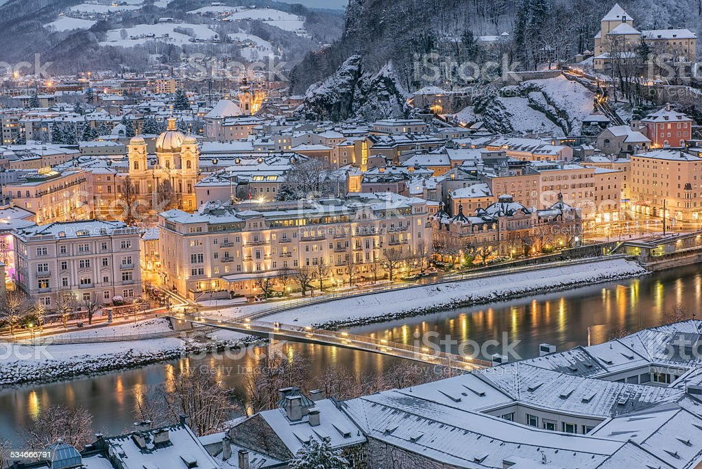Salzburg Austria covered in Snow at Night stock photo