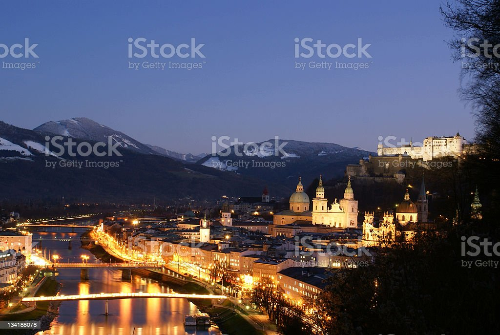 Salzburg Austria in the Evening royalty-free stock photo