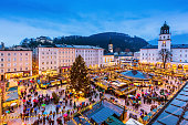 Salzburg, Austria: December 23, 2018 -  Old Town Christmas Market at twilight.