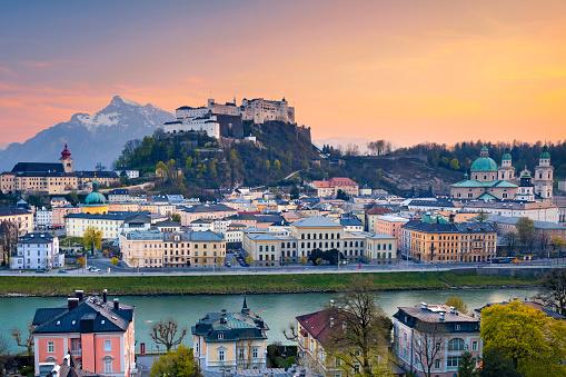 Image of Salzburg during twilight dramatic sunset.