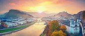 Panoramic image of the Salzburg during autumn sunrise. This is composite of 5 vertical images stitched together in photoshop.