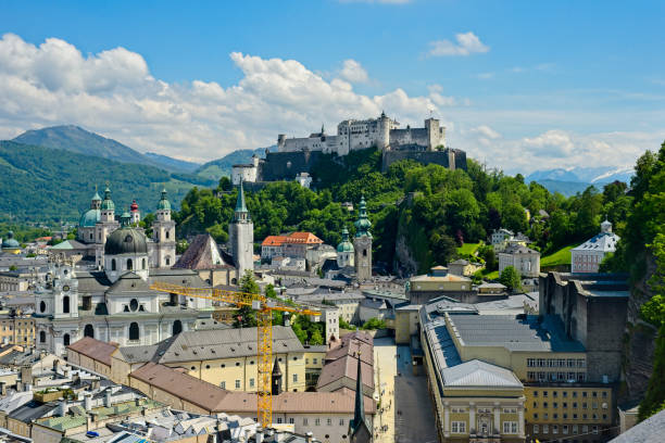 Salzburg castle and old town stock photo