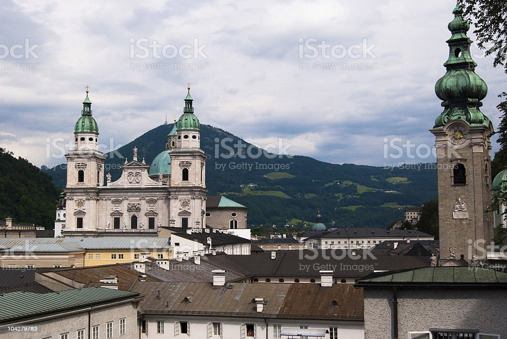 Salzburg Cathedral and Alps, Austria royalty-free stock photo