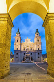 Stock photograph of the Salzburg Cathedral in Salzburg, Austria at twilight.