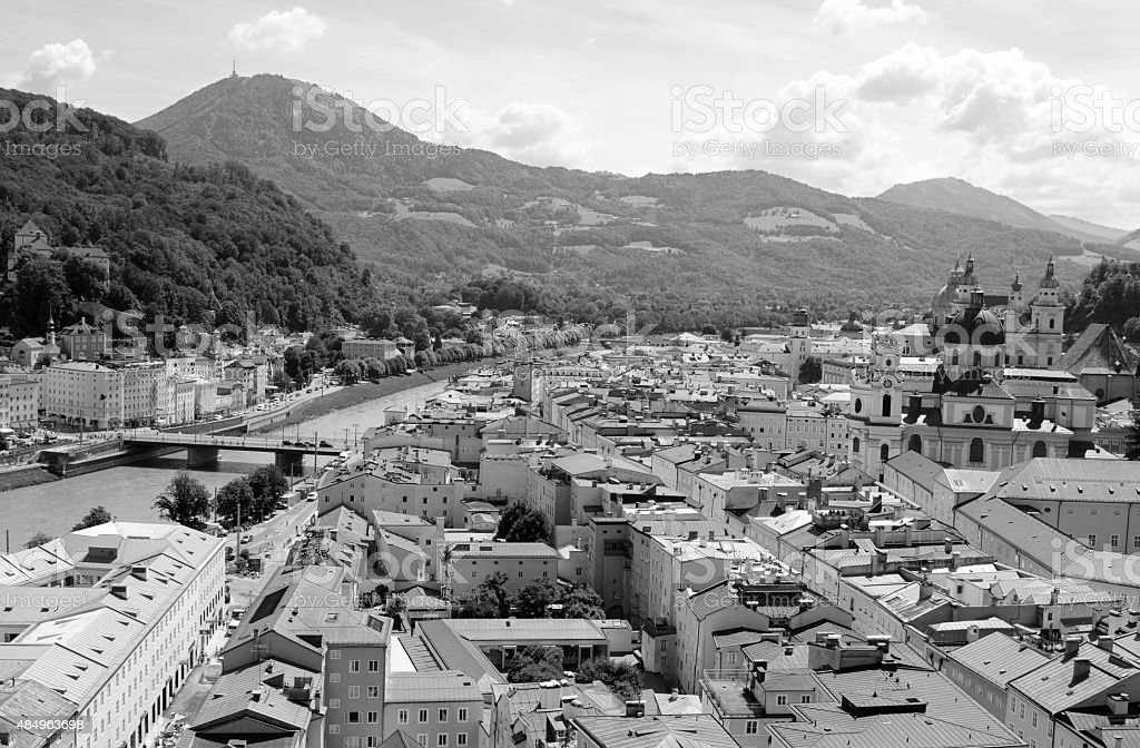 Salzburg cityscape - Salzach river and Old Town stock photo