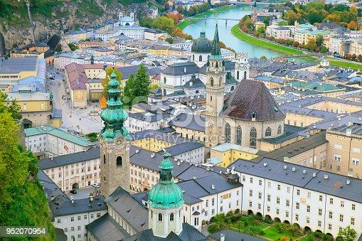 Salzburg cityscape – urban skyline at sunrise from above, austria