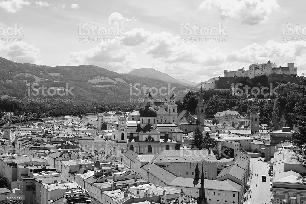Salzburg Old Town and Festung Hohensalzburg stock photo