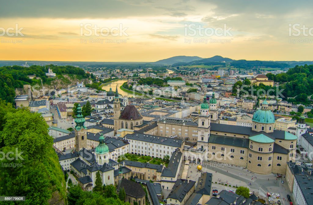 Salzburg Old Town at Sunset stock photo