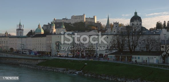 scenic hi-resolution (8221x4032) view of salzburg (austria) with old churches and the old fortress above the baroque city center. bright autumn afternoon mood.
