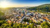 the historic city of salzburg while sunset, austria