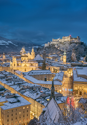 Salzburg the Birth Place of Mozart with the famous Hohensalzburg Festung covered in fresh Snow. Austria