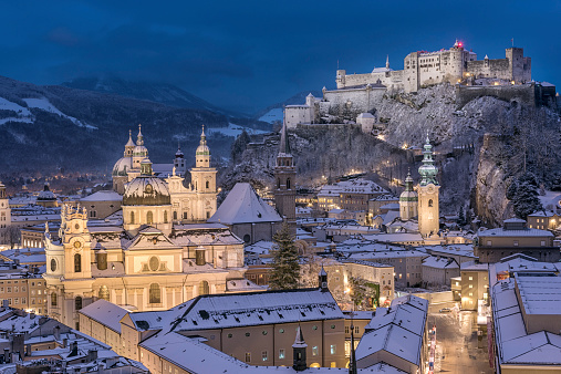 Huge Panorama of Salzburg with the famous Hohensalzburg Festung covered in fresh Snow. Austria