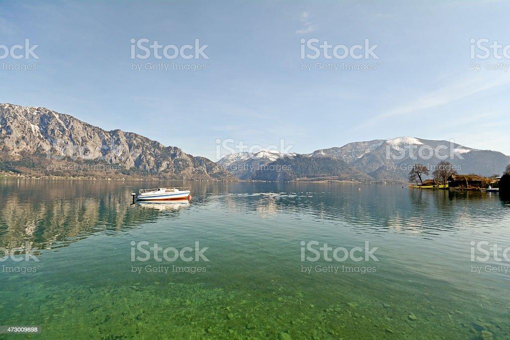 Bundesland Salzburg Österreich:  Blick auf den See Attersee-österreichischen Alpen – Foto