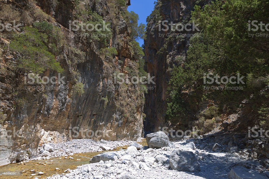 Samaria gorge at Crete island in Greece stock photo