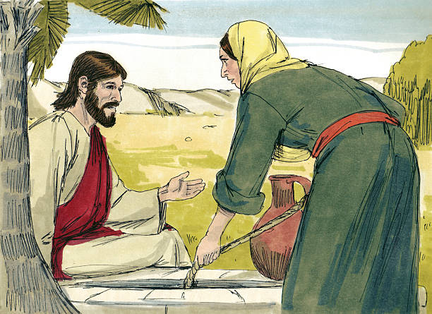 Samaritan Woman Gives Jesus Water stock photo