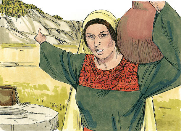 Samaritan Woman Talks with Jesus stock photo