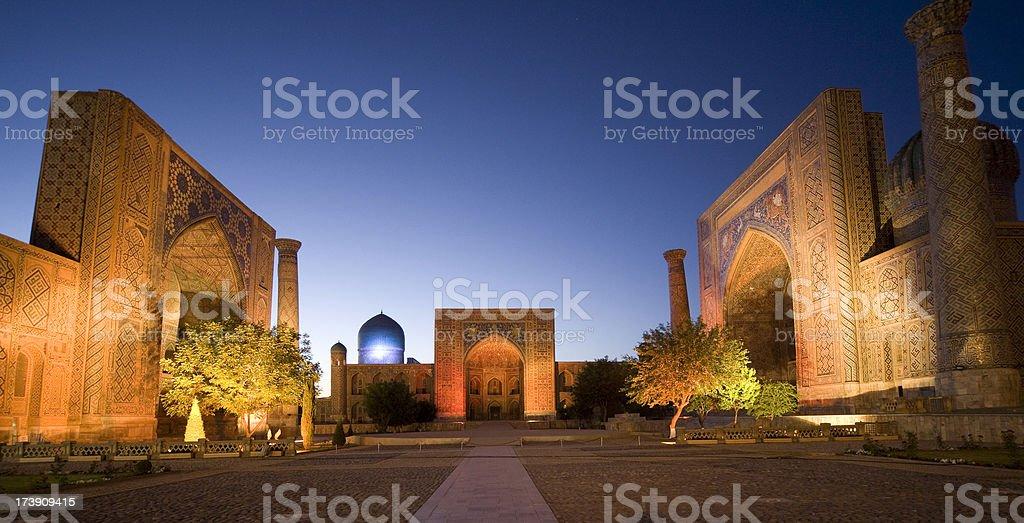 Samarkand, The Registan Illuminated stock photo