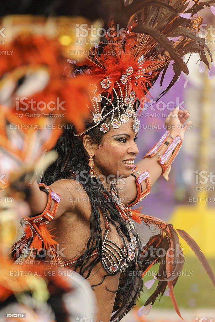 Samba dancer at Nice Carnival royalty-free stock photo