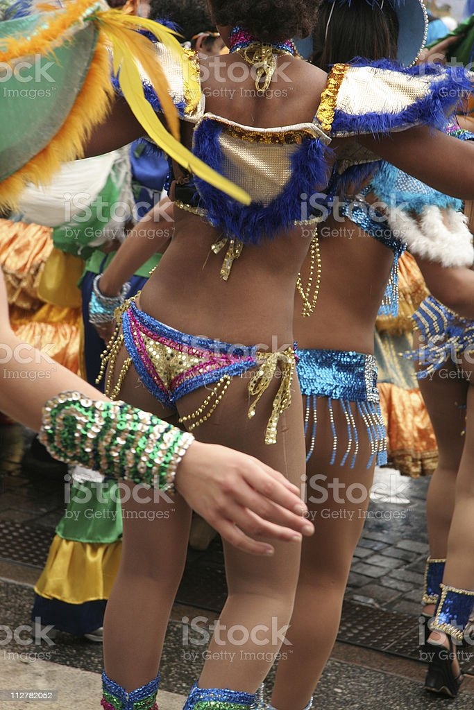 Samba dancers with beautiful decorated costume in parade royalty-free stock photo