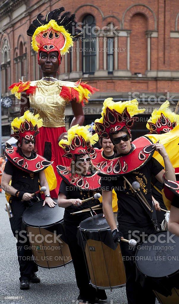 Samba drummers and carnival dancer figure stock photo