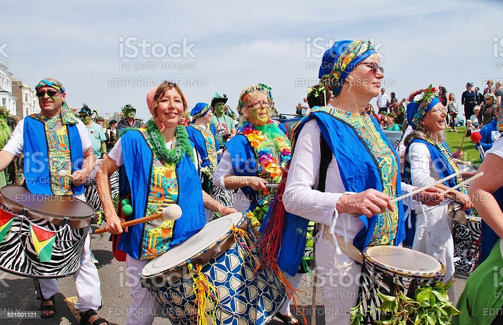 Samba drummers, Jack In The Green stock photo