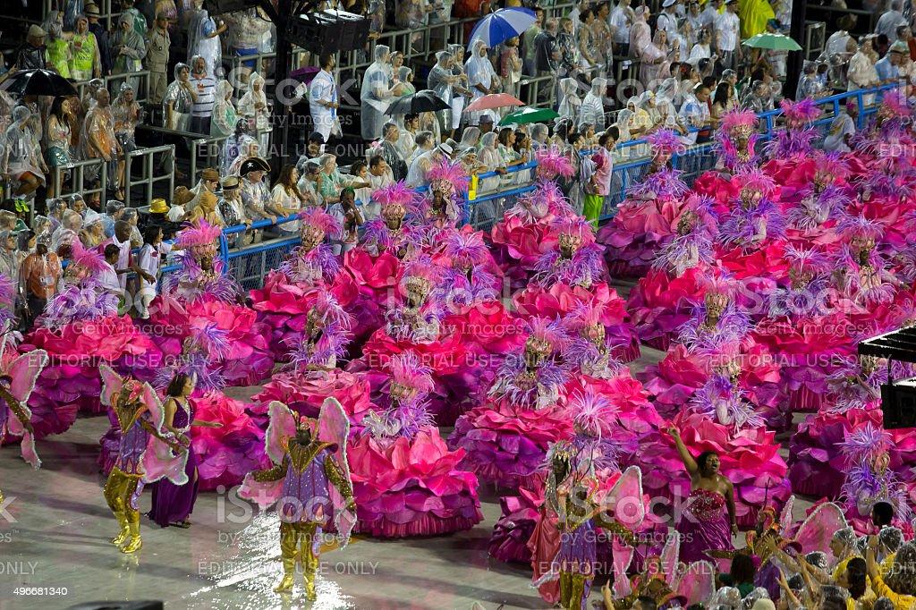 Samba school presentation in Sambodrome, Rio de Janeiro carnival stock photo