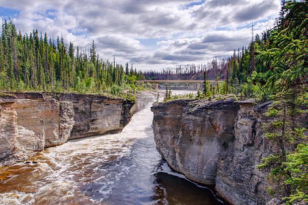 Sambaa Deh Falls on Trout River stock photo