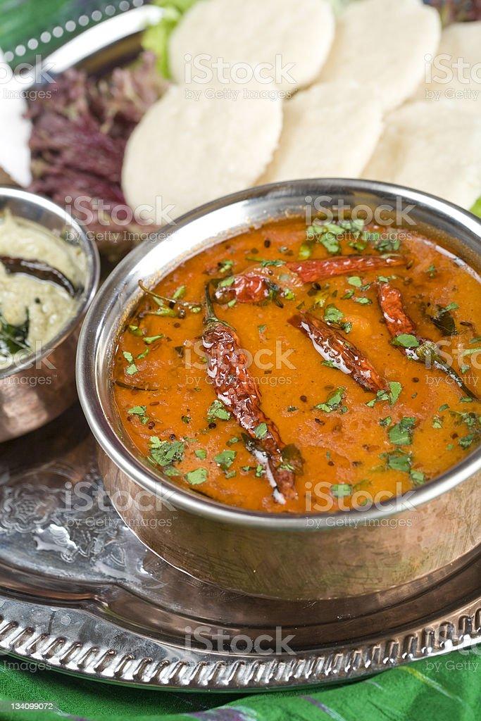 Sambar, lentil dish. Indian food stock photo