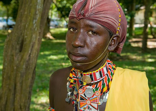 Samburu / Masai Warrior - close up head stock photo