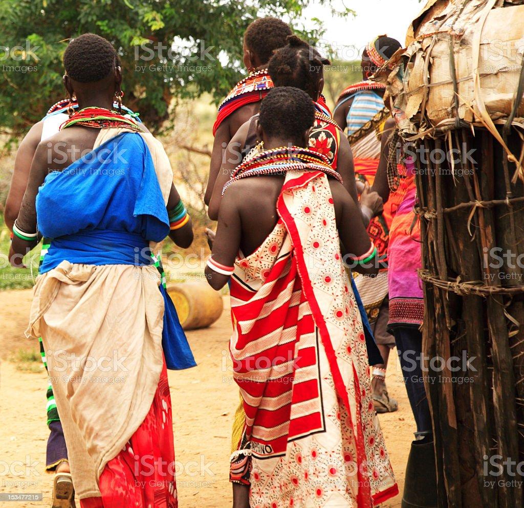 Samburu tribe - women and children Kenya Africa stock photo
