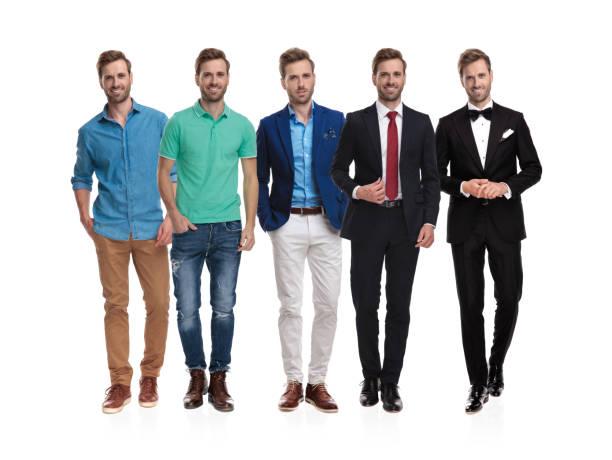 der gleiche glückliche mann posiert in verschiedenen positionen und outfits - bräutigam jeans stock-fotos und bilder