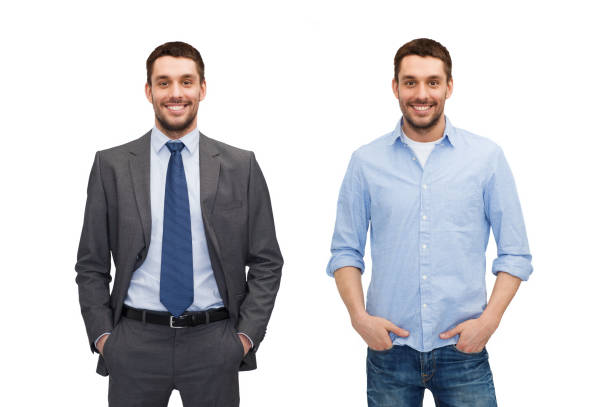 same man in different style clothes stock photo