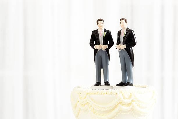Same Sex Marriage Wedding Cake Figurine Topper Horizontal stock photo