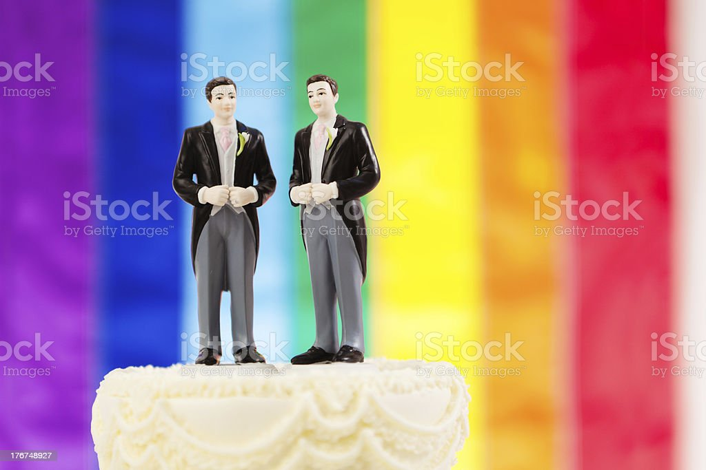 Same Sex Marriage Wedding Cake with Rainbow Flag royalty-free stock photo