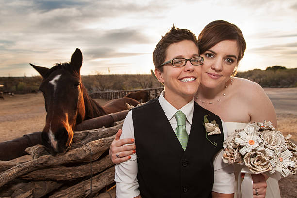 Same Sex Newlyweds with Horse stock photo