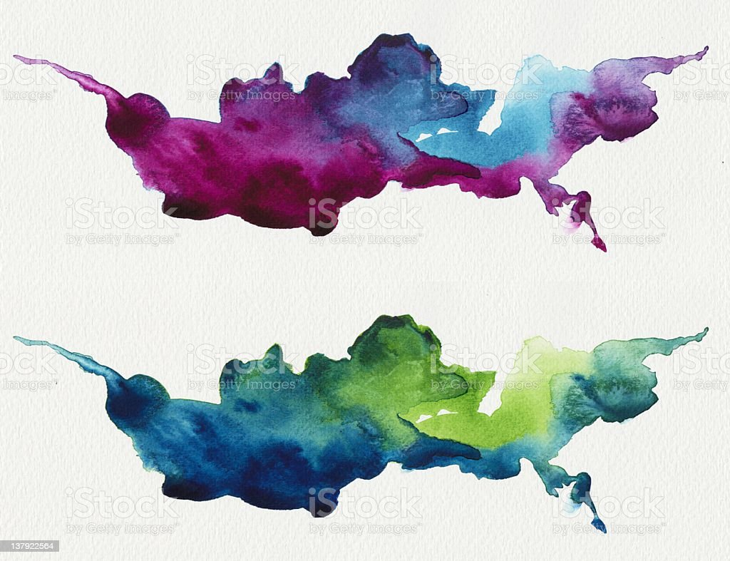 Same shape of abstract watercolors design stock photo