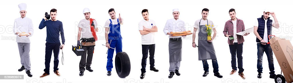 same young man doing various jobs in different professional outfit stock photo