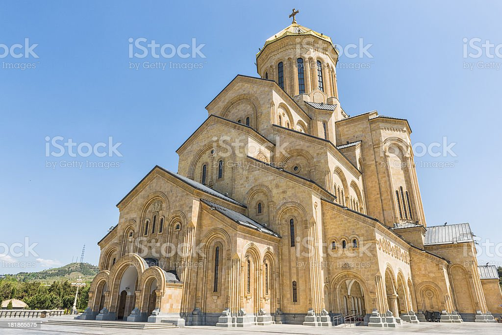 Sameba cathedral in Tbilisi stock photo