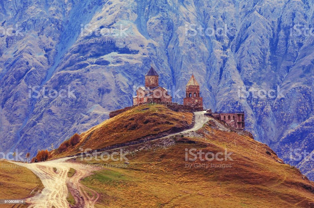 Sameba church in Gergeti,Georgia stock photo