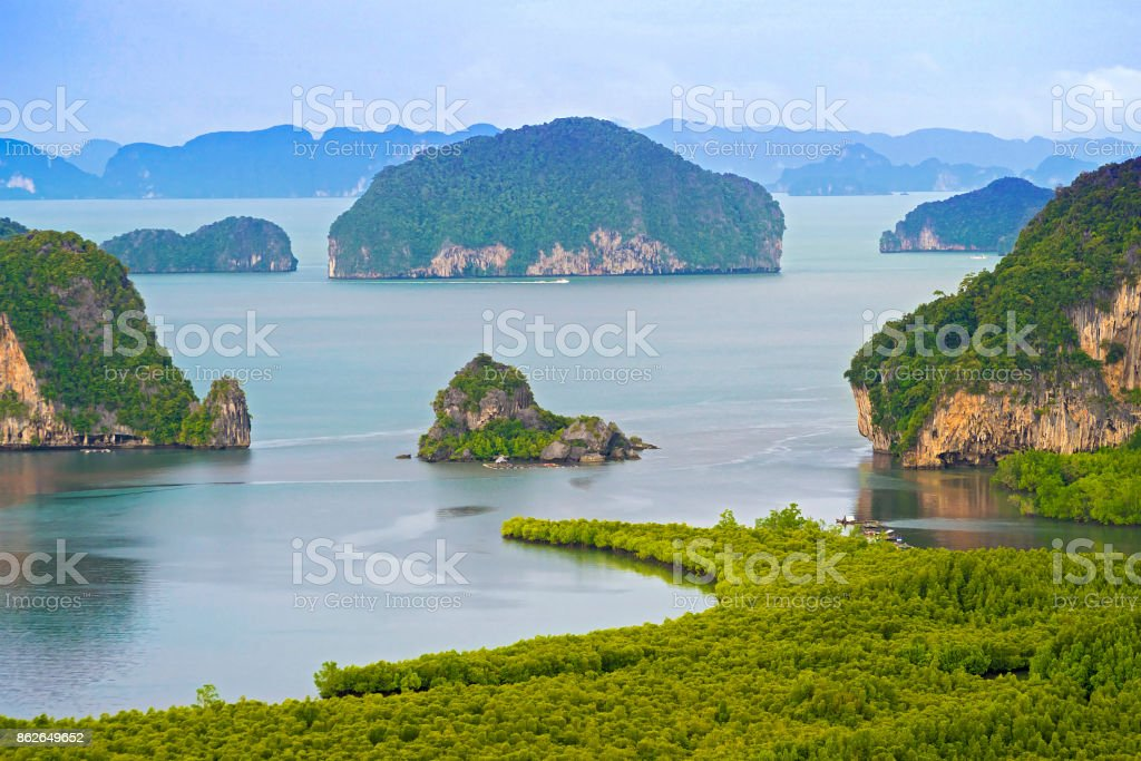 Samet Nang She is the best vew point on Phang nag bay in Southern of Thailand not faraway from  Phuket stock photo