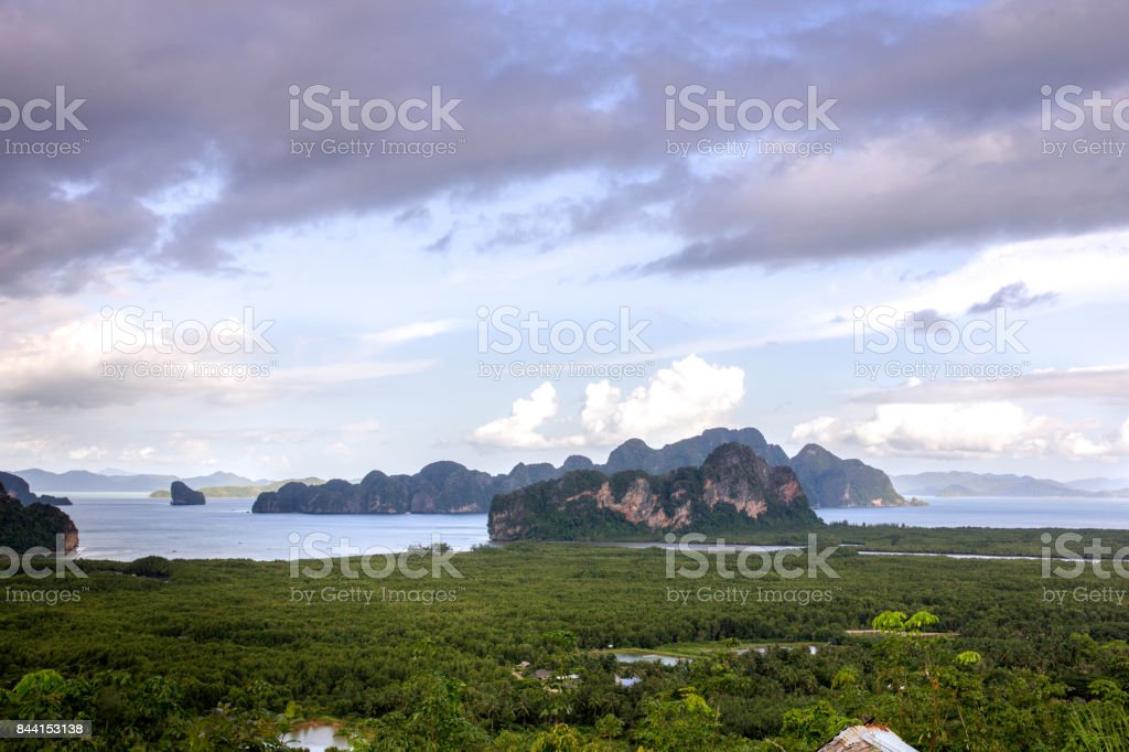Samet Nang She View Point on the mountain by the sea, Islands, Phang Nga, Thailand. stock photo