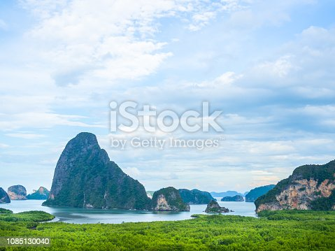 Beautiful seascape view of Phang-nga, unseen place called Samet Nangshe in Phang-nga province, southern of Thailand.