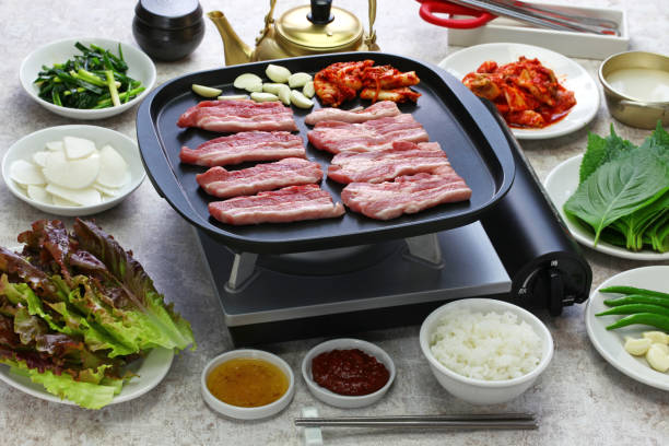 samgyeopsal, korean grilled pork belly BBQ