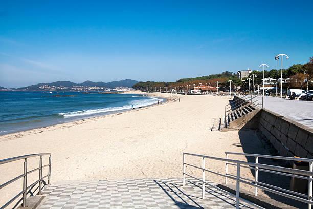 Samil beach and waterfront promenade near Vigo city, Galicia, Spain. stock photo