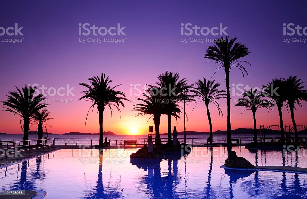 Samil beach in Vigo, Spain. stock photo