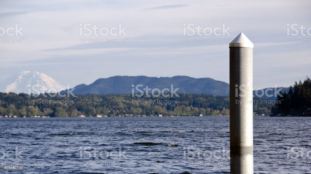 Sammamish Lake with  Rainier  in background, Seattle. royalty-free stock photo