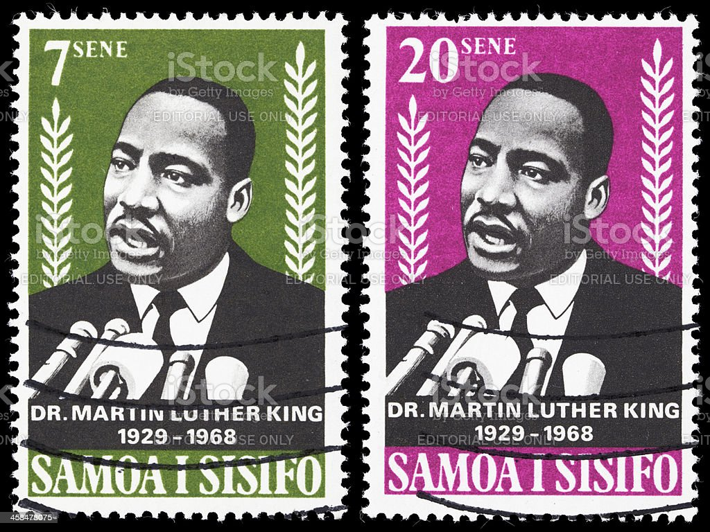 Samoa Dr Martin Luther King Jr postage stamps royalty-free stock photo