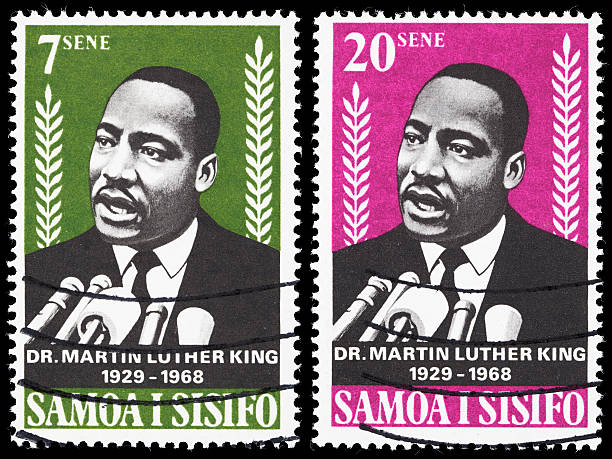 Samoa Dr Martin Luther King Jr postage stamps Sacramento, California, USA - March 19, 2011: Composite image of two Western Samoa postage stamps with images of Martin Luther King, Jr. speaking into microphones. The stamps were issued in 1968 to memoralize King (1929-1968) after his assassination earlier that year. mlk stock pictures, royalty-free photos & images