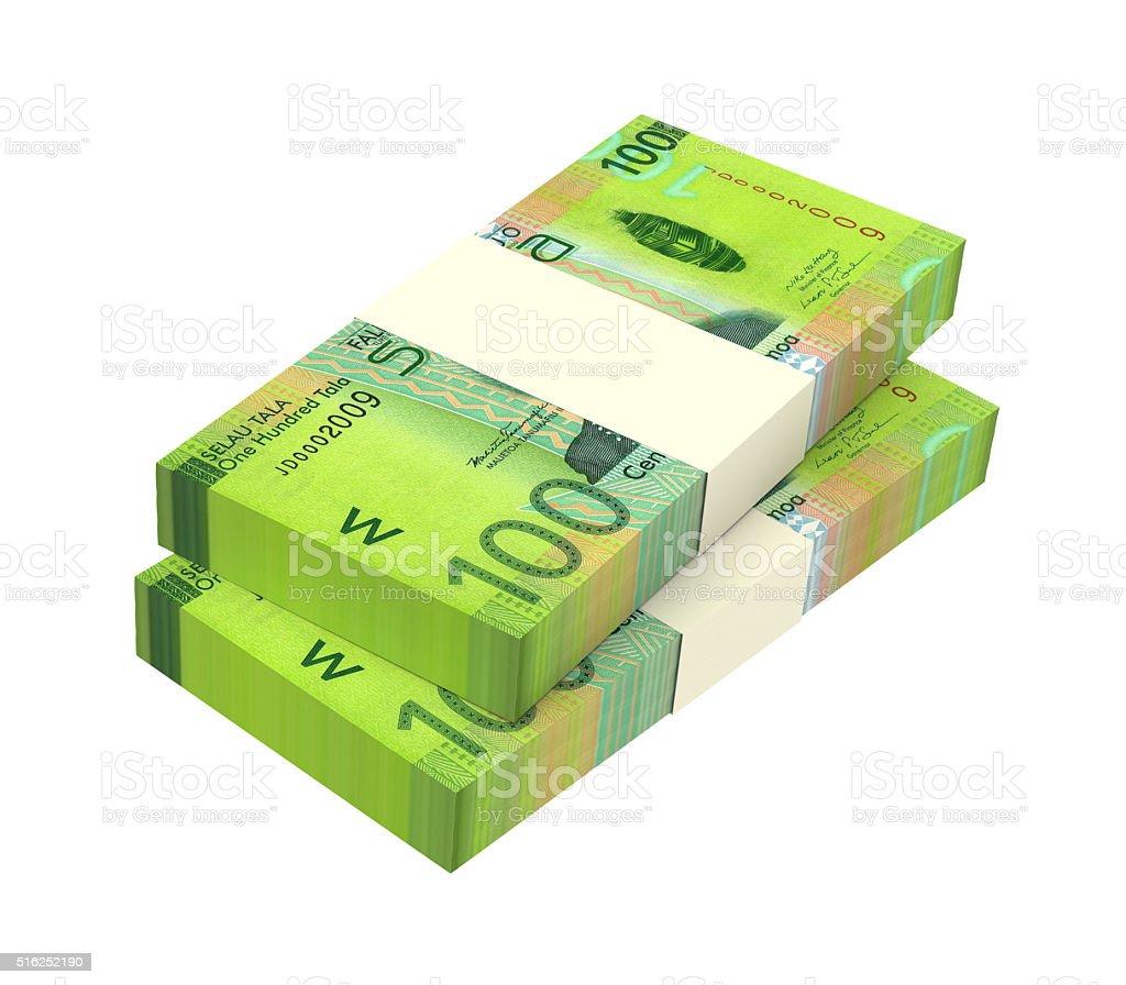 Samoan tala bills isolated on white background. stock photo
