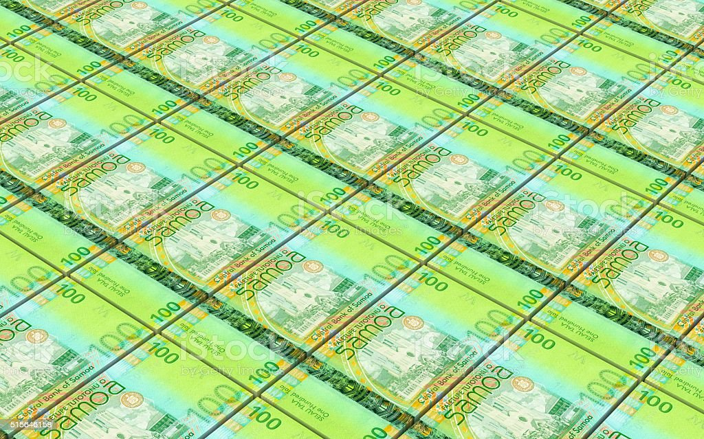 Samoan tala bills stacks background. stock photo